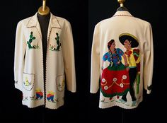 Rare1940's Mexican hand stitched applique cream by wearitagain, $195.00