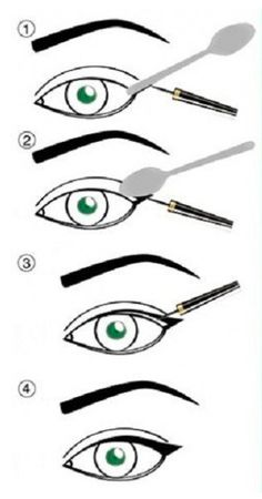 Easy winged eye liner with a spoon Eye-liner ailé facile avec une cuillère Eyeliner Hacks, Best Gel Eyeliner, Permanent Eyeliner, Winged Eyeliner Tutorial, How To Do Eyeliner, Simple Eyeliner, White Eyeliner, Winged Liner, Eyeliner Pencil