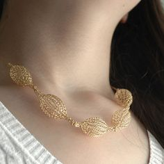 7 Crocheted gold filled organic pod necklace , unique handmade wire cr – Yooladesign