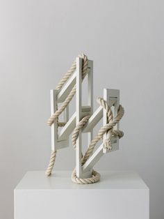 """curated-by: """"Ricky Swallow, Skewed Open Structure with Rope (white), 2015 """" Contemporary Art Daily, Contemporary Paintings, Modern Sculpture, Sculpture Art, Plastic Art, Ancient Jewelry, Mixed Media Artists, Art Boards, Swallow"""