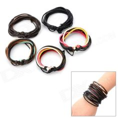 Quantity: 5 - Color: Brown + black - Material: Genuine cowhide leather + hemp cord - Size: 5~7cm (diameter) - Gender: Unisex - Suitable for: Adults - Features: - Double genuine cowhide leather wrapping around hemp cords - Adjustable length with the rope - Makes a great accessory for daily wear - Packing List: - 5 x Wristbands http://j.mp/1ljSE8G