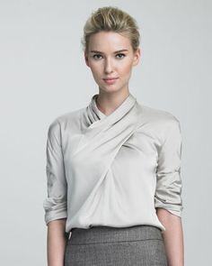 Armani Collezioni Floral-Print Knit Jacket, Crisscross Blouse & Ankle-Length Trousers - Neiman Marcus