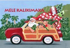Hawaiian Christmas Cards Box of 10 Santa in Woody Car by BKL. $6.29. Inside message: An Island Greeting of Peace and Aloha. Box of 10 cards. 4 inch by 6 inch. 10 envelopes. Save 10%!