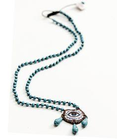Caribbean Blue-eyed Necklace - Handmade  by myfashionfruit.com