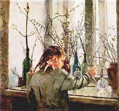 Татьяна Яблонская. На окне весна. 1954 (Tatiana Yablonskaya - Spring at a window)
