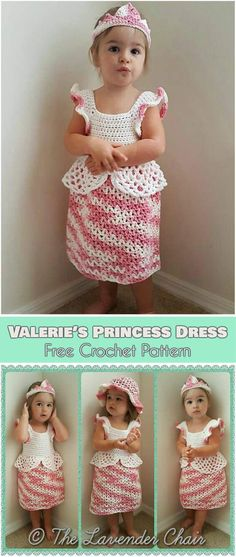 Crochet Baby Girl Valerie's Princess Dress Free Crochet Pattern Knitting Baby Girl, Baby Girl Crochet, Crochet Baby Clothes, Baby Blanket Crochet, Crochet For Kids, Crochet Summer, Crochet Princess Hat, Crochet Toddler Dress, Crochet Beanie