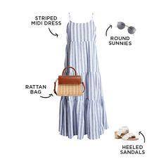 #capsulewardrobe #summerfashion Summer Wardrobe, Capsule Wardrobe, Capsule Outfits, Best Memorial Day Sales, Bathing Suit Shorts, Simple Dresses, Simple Outfits, Striped Midi Dress, Weekend Style