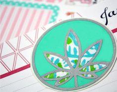 Mint Green Marijuana Leaf Decal - OOAK - Cannabis Leaf Pastel Decal