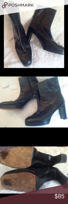 Stuart Weitzman Black Leather Boots Genuine black leather, Stuart Weitzman for Russell & Bromley, ankle boots. Classic and timeless, squared toe with sturdy squared heel and side zip. Perfect for work with dress pants and nice with jeans. GUC, size 7.5. Stuart Weitzman Shoes Ankle Boots & Booties