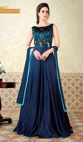Navy Blue Color Satin Fabric Wedding Wear Anarkali Salwar Kameez With Gorgeous Digital Print Designs Lace Anarkali, Anarkali Suits, Floor Length Anarkali, Printed Gowns, Designer Anarkali, Wedding Fabric, Abaya Fashion, Women's Fashion, Pakistani Outfits
