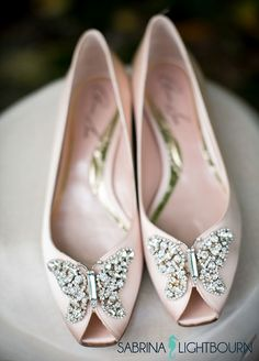 Beautiful Aruna Seth wedding shoes embellished with Swarovski elements crystal butterfly.