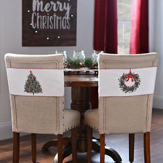 Christmas Tree and Wreath Chair Bands, Set of 2 | Kirklands...like this & have this type of parson chair from k's
