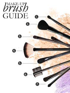 1. Blending brush   2. Powder brush 3. Concealer/Lip brush     4. Fan Powder brush no.  5. Foundation Brush    6. Eyebrow Brush     7. Double-ended Brush