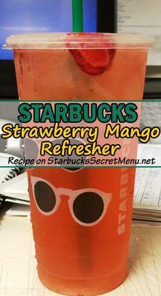 Try Starbucks Strawberry Mango Refresher Fun fruity and oh so refreshing StarbucksSecretMenu Starbucks Hacks, Starbucks Secret Menu Drinks, Starbucks Refreshers, Starbucks Coffee, Healthy Starbucks, Starbucks Frappuccino, Fruity Drinks, Refreshing Drinks, Cold Drinks