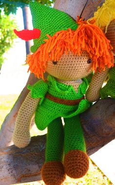 NEW DOLL!!!!!! crochet peter pan doll by sarahsdollhouse on Etsy, $65.00