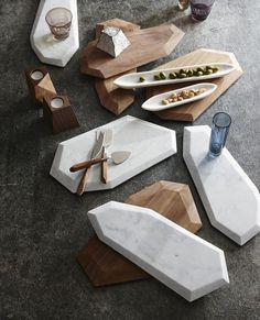 Faceted Marble + Rosewood Serving Pieces /