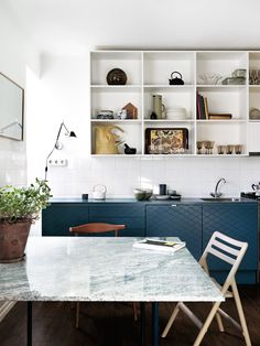 blue kitchen base cabinets, open upper kitchen cabinet, modern, minimal kitchen, J. Ingerstedt - Interior photography