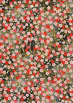 Pink Red Blossom on black Japanese Yuzen Chiyogami Washi Paper