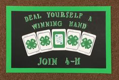 Deal Yourself A Winning Hand Fair Projects, School Projects, 4 H Clover, 4h Fair, 4 H Club, Banner Ideas, Purple Ribbon, Ffa, Poster Ideas