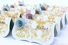 PaperVine: Wedding Tutorials Day 1 - Placecards [g> escort cards, lace flower]