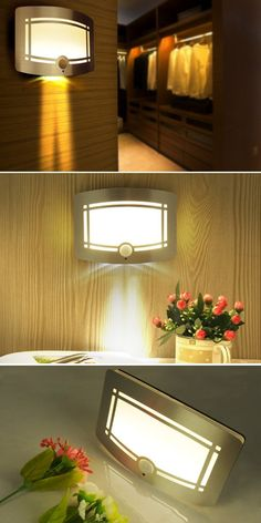 LOOKS ELEGANT: MAKE YOUR HOME LOOKS LUXURIOUS Place this wall light any where in your room to create a romantic atmosphere. It's elegant and sleek design, with a brushed aluminum finish on the frame, makes your room looks beautiful. Desktop Lamp, Pathway Lighting, Led Diy, Dark Places, Basements, Home Look, Garages, Led Lamp, Closets