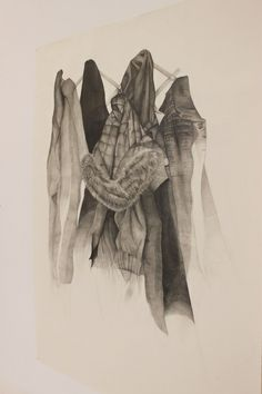 Mam and Dad's coats, pencil on paper, x Fine Art Drawing, Art Drawings, Pencil, Coats, This Or That Questions, Paper, Artist, Projects, Painting