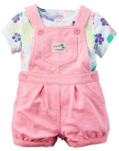 Carter's Baby Clothing Outfit Girls 2-Piece Floral Tee & Shortalls Set Pink NB
