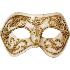 Venetian mask decorated in white gold on a papier-mache. Elegant Mask to live elegantly Venetian Carnival