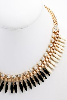 Noir Fringe Necklace - Black + White - $28.00 | Daily Chic Accessories | International Shipping