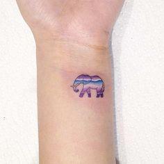 Small Elephant Wrist Watercolor Tattoo