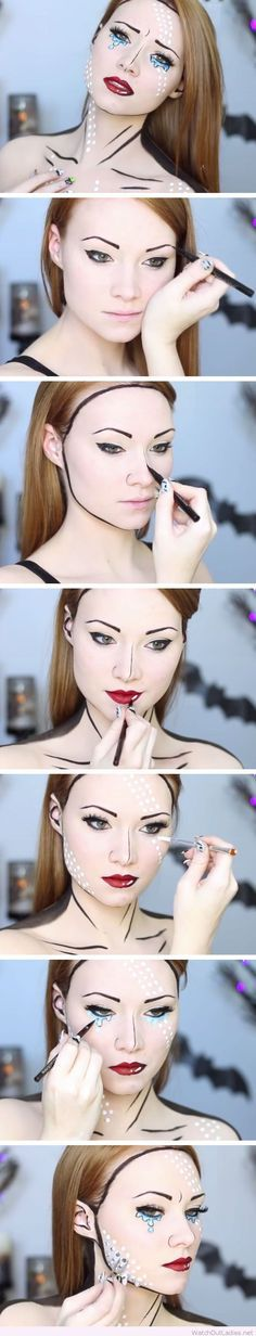 Comic book makeup tutorial for Halloween