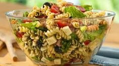 Taco Pasta Salad  Ingredients:  1 package (16 ounces) spiral pasta     1 pound ground beef  3/4 cup water     1 envelope taco seasoning     2 cups (8 ounces) shredded cheddar     cheese    1 large green pepper, chopped    1 medium onion, chopped    1 medium tomato, chopped 2 cans (2-1/4 ounces each) sliced ripe olives, drained 1 bottle (16 ounces) Catalina or 16 ounces Western salad dressing Directions: http://healthtipslist.blogspot.com/2014/11/healthy-recipe.html
