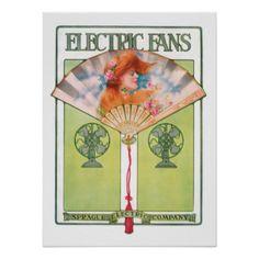 Art Deco Electric Fan Poster