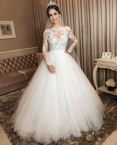 Ivory Tulle Wedding Gown Long Sleeves with Sheer Lace Bodice- Tulle Wedding Gown, Wedding Dress Sleeves, Best Wedding Dresses, Bridal Dresses, Ivory Wedding, Lace Ball Gowns, Long Sleeve Wedding, Marie, Lace Bodice