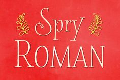Spry Roman Pro by Stephen Rapp on @creativemarket