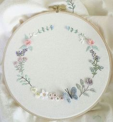 Very pretty colour combination. Silk Ribbon Embroidery, Embroidery Hoop Art, Floral Embroidery, Cross Stitch Embroidery, Embroidery Patterns, Diy Broderie, Brazilian Embroidery, Ribbon Work, Sewing Crafts