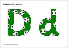 A PDF document with 26 alphabet letters (upper and lowercase) with a football pattern. These are great for printing and cutting out for use on displays. Free Teaching Resources, Teaching Math, Maths, Teaching Ideas, Football Fonts, Free Football, Classroom Displays, Classroom Decor, Anul Nou