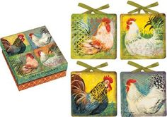 """ICMPBR 4.5"""" x 4.5"""" x .5"""" Boho Rooster Mini Plates                                                        country french"""
