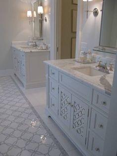 great vanity - love carrera marble and love those floors!
