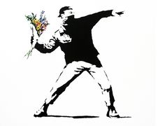 I like how Banksy uses random objects with a grunge gratify object.