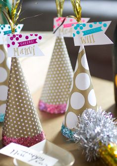 New Year's Eve party hats and place names