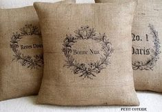 Burlap pillows. I'd like to attempt this.