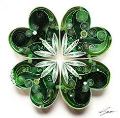 sena runa paper art four leaf clover