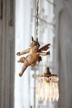 Cherub Chandelier, Made in France pendant lamp with bronze Cherubim & hanging crystals Decoration Shabby, Shabby Chic Decor, Chandeliers, Chandelier Lighting, Unique Chandelier, French Chandelier, Vintage Chandelier, Antique Lighting, French Decor