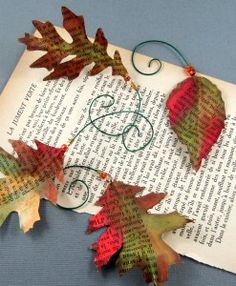 @Marie Browning created these fall leaves for her Book Page Inspiration challenge using #tombow Mono Aqua glue!