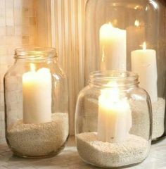 Fun beach party idea-Mason Jars, Sand, Candle