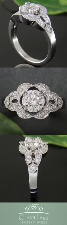 Gorgeous engagement ring, custom made by Green Lake Jewelry Works.