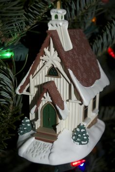 little white church ornament