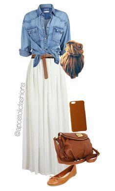 Falsa blanco con blusa de jean y accesorios de color café, genial. #Modajeans
