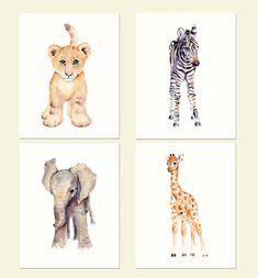 Safari Nursery Print Set- Four prints- Watercolor Nursery prints, Lion, zebra, elephant and giraffe prints by Marysflowergarden on Etsy https://www.etsy.com/listing/216314106/safari-nursery-print-set-four-prints